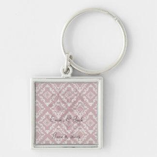 romantic red and white diamond damask pattern key chain