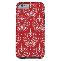 Romantic Red and White Vintage Damask iPhone 6 Case