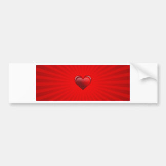 Romantic red banner gift with love and red heart bumper sticker