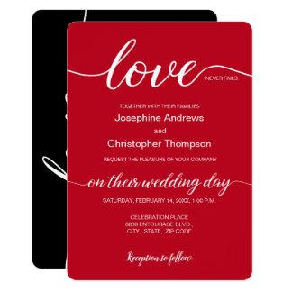 Romantic Red Black Valentine's Wedding Invitation