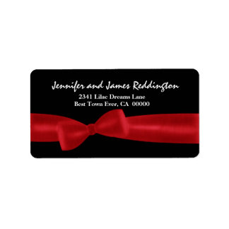 Romantic Red Bow on Black Background Label