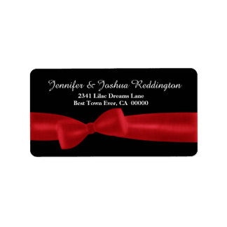 Romantic Red Bow on Black Background White Text Label
