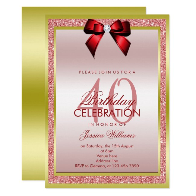 Romantic Red Bow & Sparkly Glitter 40th Birthday Invitation