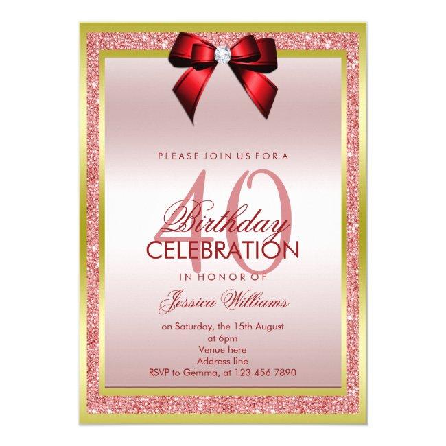 Romantic Red Bow & Sparkly Glitter 40th Birthday Invitation