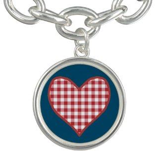 Romantic Red Check Gingham Heart Charm Bracelet