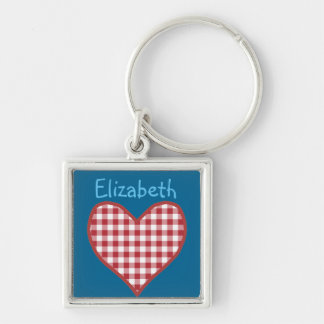 Romantic Red Check Gingham Heart Custom Keychain