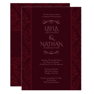 Romantic Red Damask Wedding Invitations