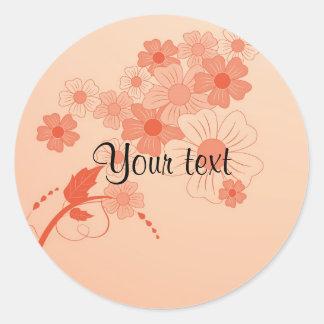 Romantic red floral design classic round sticker