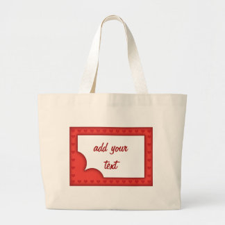 Romantic red frame with hearts large tote bag