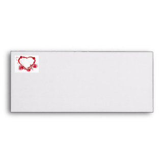Romantic Red Heart Floral Envelopes