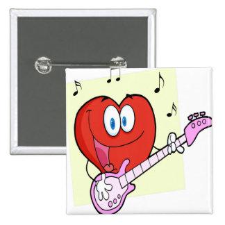 Romantic Red Heart Man Button
