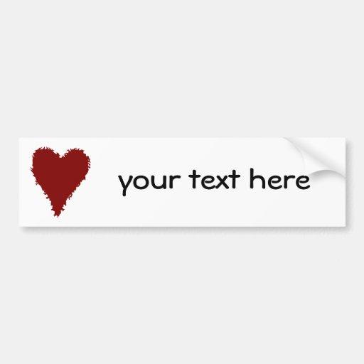 Romantic red heart on a white bumper sticker