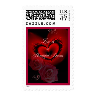 Romantic red heart, rose and text postage