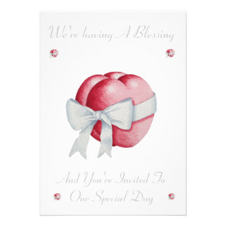 Romantic red hearts white bow blessing invite