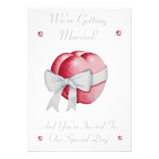 Romantic red hearts white bow wedding invitation