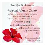 """Romantic Red Hibiscus 5.25"""" Square Invitation Card"""