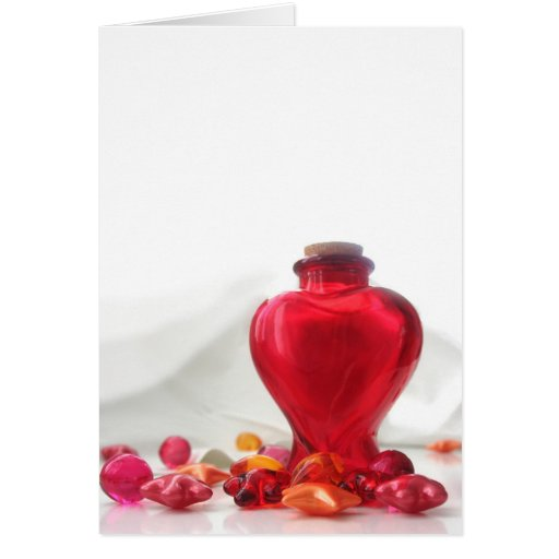 Romantic Red Love Heart Bottle Photography Greeting Card