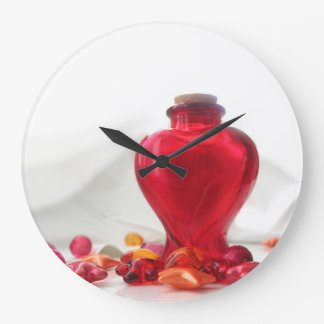 Romantic Red Love Heart Bottle Photography Large Clock