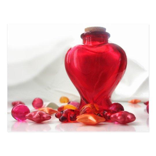 Romantic Red Love Heart Bottle Photography Postcard