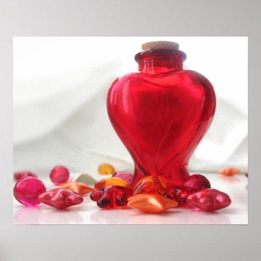 Romantic Red Love Heart Bottle Photography Print