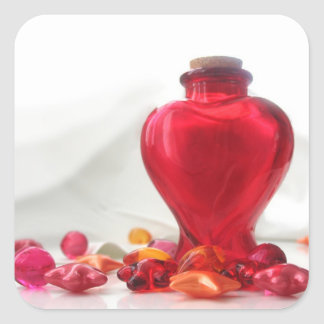 Romantic Red Love Heart Bottle Photography Square Sticker
