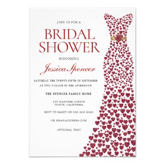Romantic Red Love Heart Dress Bridal Shower Invite