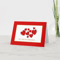 Romantic Red Love Hearts Christmas Holiday Card