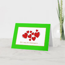 Romantic Red Love Hearts Green Border Christmas Holiday Card