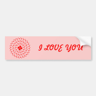Romantic Red Mandala circle with red hearts Bumper Sticker