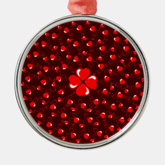 Romantic Red Mandala circle with red hearts Metal Ornament