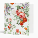 Romantic Red Orange Retro Girly Roses Floral Binder