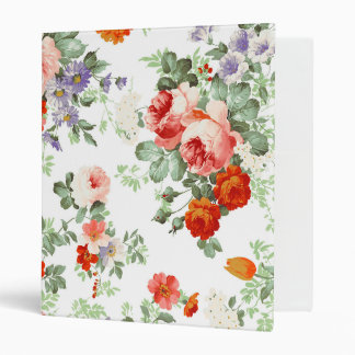 Romantic Red Orange Retro Girly Roses Floral Vinyl Binder