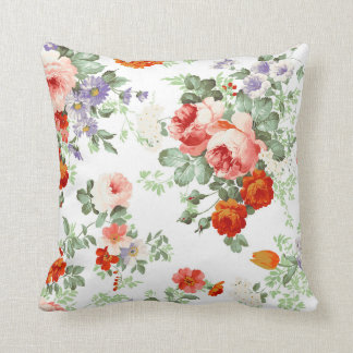 Romantic Red Orange Retro Girly Roses Floral Pillows