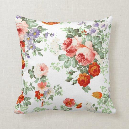 Romantic Red Orange Retro Girly Roses Floral Throw Pillow