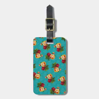 Romantic Red Peach Rose Pattern Teal Damask Luggage Tag