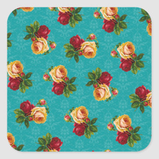Romantic Red Peach Rose Pattern Teal Damask Square Stickers