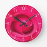 Romantic Red Pink Rose Round Clock