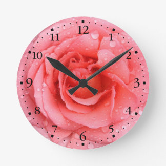 Romantic Red Pink Rose Water Drops Round Clock