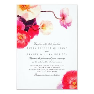 Romantic Red Poppies Watercolor Wedding Invitation