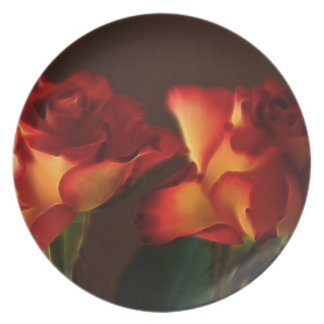 Romantic red rose and its meaning dinner plate
