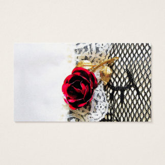 Romantic red rose and wedding garter business card