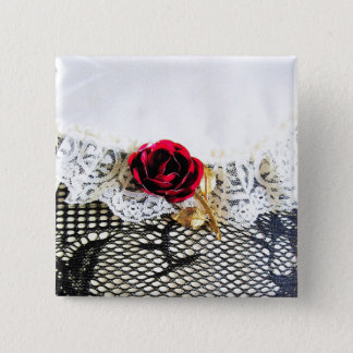 Romantic red rose and white lace button