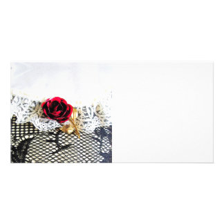 Romantic red rose and white lace card