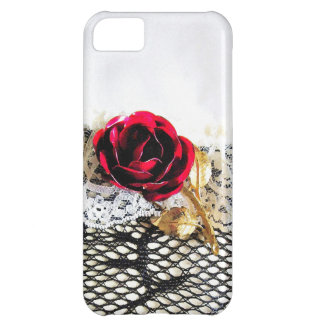 Romantic red rose and white lace case for iPhone 5C