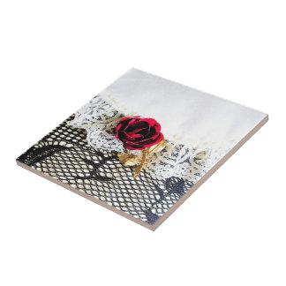 Romantic red rose and white lace ceramic tile