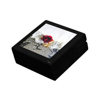 Romantic red rose and white lace gift box