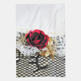 Romantic red rose and white lace hand towel
