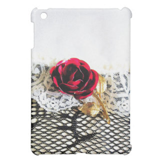 Romantic red rose and white lace iPad mini cover