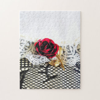Romantic red rose and white lace jigsaw puzzle