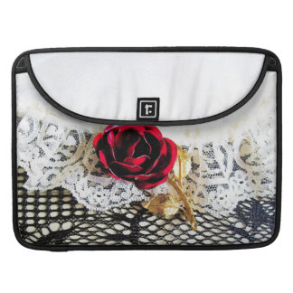 Romantic red rose and white lace MacBook pro sleeves